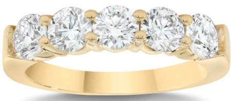 ROUND BRILLIANT 1.25 CTW VS2 CLARITY, I COLOR DIAMOND 14KT YELLOW GOLD FIVE STONE RING