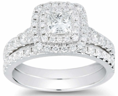 PRINCESS CUT & ROUND BRILLIANT 1.45 CTW VS2 CLARITY, I COLOR DIAMOND 14KT WHITE GOLD WEDDING SET