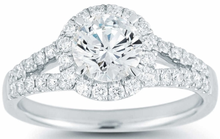 ROUND BRILLIANT 1.35 CTW VS2 CLARITY, I COLOR DIAMOND PLATINUM RING