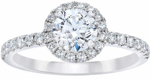 ROUND BRILLIANT 1.07 CTW VS2 CLARITY, I COLOR DIAMOND PLATINUM RING  3,330.00