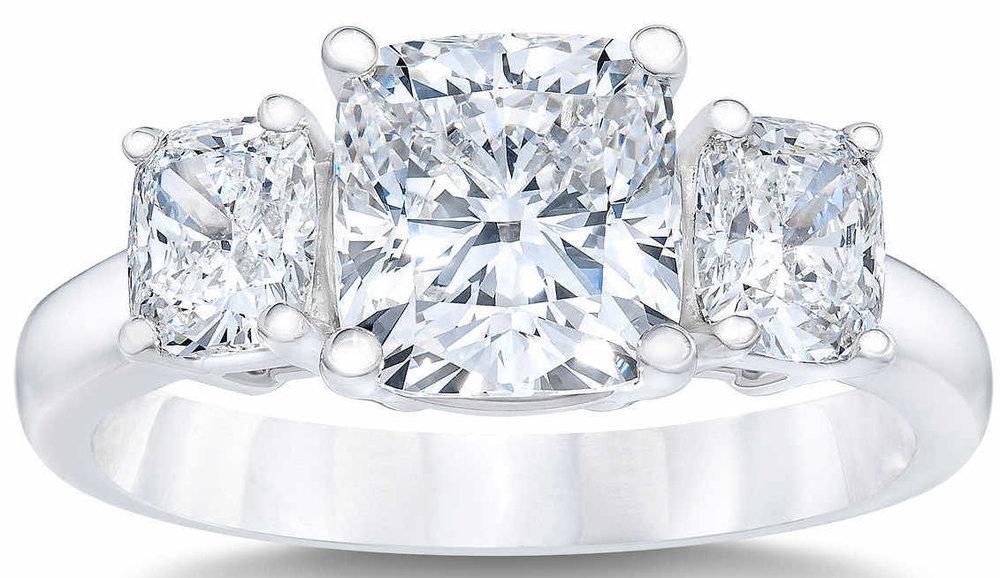 Cushion+Cut+3.03+ctw+VVS1+Clarity,+G+Color+Diamond+Platinum+Three+Stone+Ring.jpg