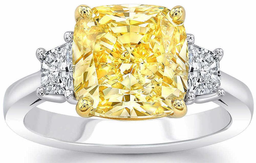Cushion+Cut+5.02+ct+VS1+Clarity,+Fancy+Yellow+Diamond+Platinum+5.55+ctw+Ring+1.jpg