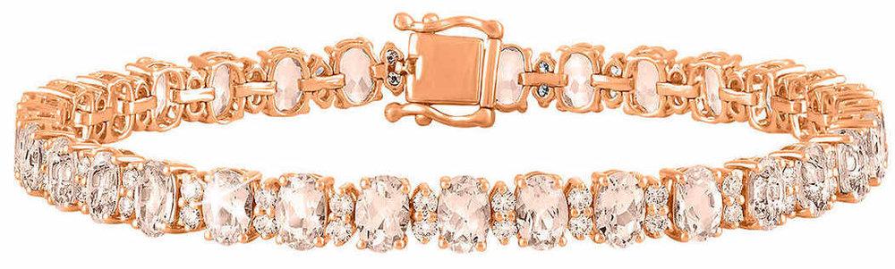 Oval Cut Morganite and Diamond 14kt Rose Gold Bracelet 1.jpg
