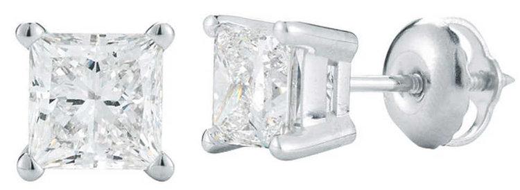 PRINCESS CUT 1.00 CTW VS2 CLARITY, I COLOR DIAMOND PLATINUM SCREWBACK STUD EARRINGS.jpg