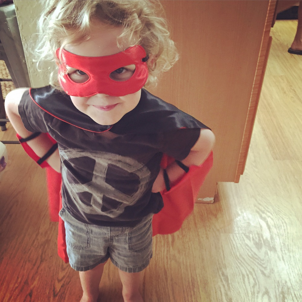 The day he turned 3. He became a super hero.