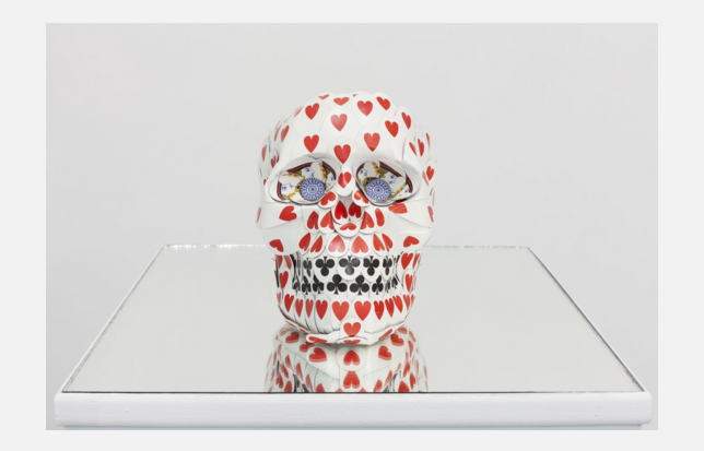 "Galerie Italienne   Nicola Bolla   ""Skull Player""   2015 sculpture, mixed media with playing cards"