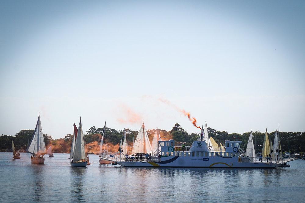 "Enter the ""Parade of Sail"" on Sunday - a flotilla of yachts alongside Lady Nelson"