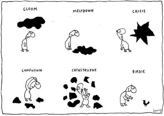 I love this cartoon my Michael Leunig. To me this represents; Seeing the good in things, Finding the positive in everyday life, Paying attention to the small things. Allowing yourself to get carried away by the things you love can bring you out of a negative thought pattern. Birds are great for this!