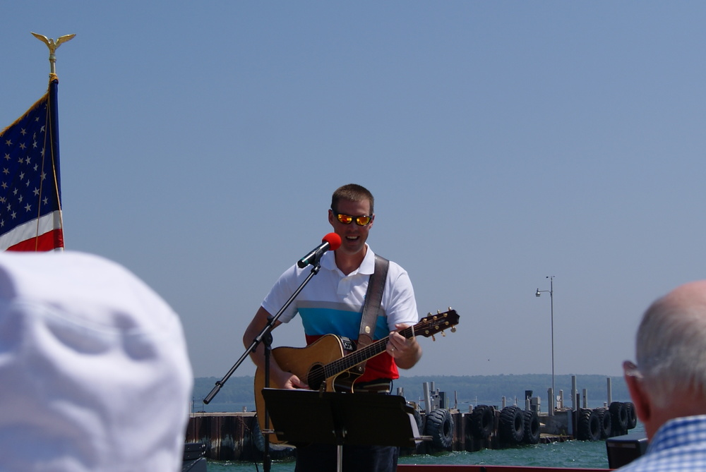 """Fresh off the ferry here's Pastor Ryan playing a couple of years ago @ """" Blessing of the Fleet"""". I hear he will be making his first time appearance in this benefit. Now if we could get Pastor Phil to return for a duet 🎺!"""