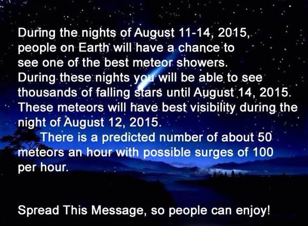 On Facebook via Crystal Johnson            Another reason to stay up late this week. We are so lucky to be in a place dark enough to see the stars!