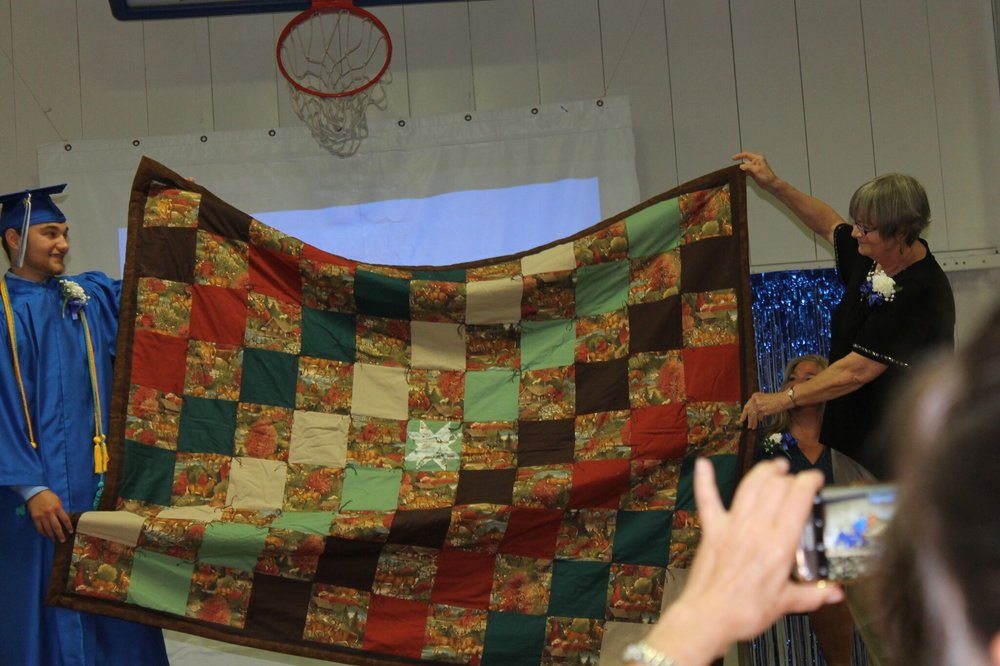 Alex with his quilt (Ann Rose Photo)