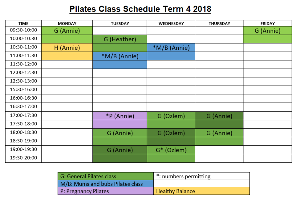 West Ryde Physiotherapy Pilates Class Schedule Term 4 2018