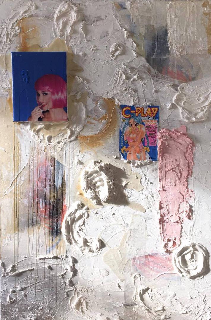 Yuki KasaÏ-Paré, untitled, mixed media on wood panel, 2016.
