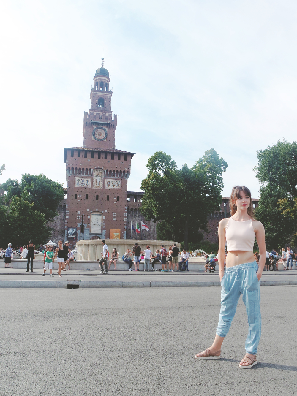 In front of the Castello Sforzesco.