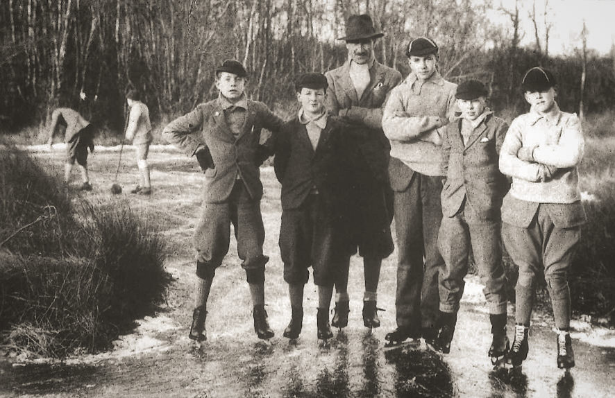 Ice-skating on the marsh (Dec 1933)