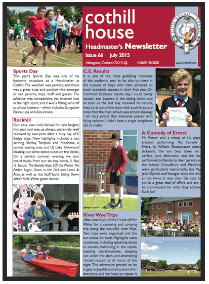 Headmaster's Newsletter from end of last term