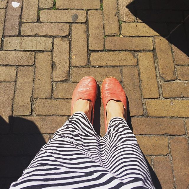 Walking my red NALU'S through the sunny streets of #Amsterdam today. .  Handmade leather espadrilles. ❤️