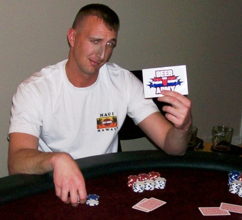 Beer Army Poker - Location: Jacksonville, NC - Craig Rooth showing off one of the first Beer Army logos from our early days of playing poker and drinking homebrew.