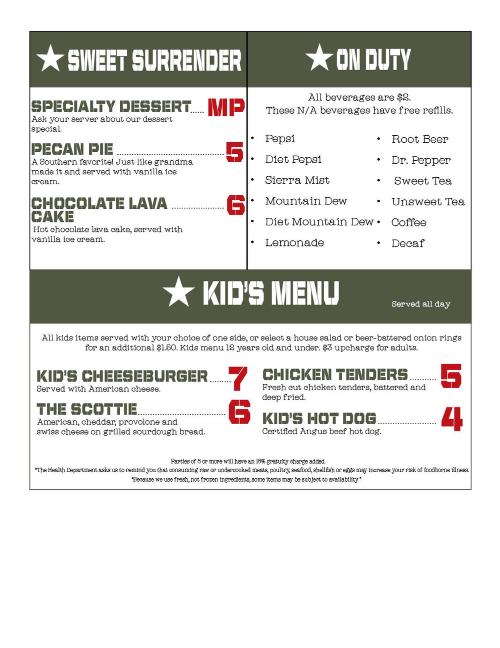 Download/Print PDF Menu Page