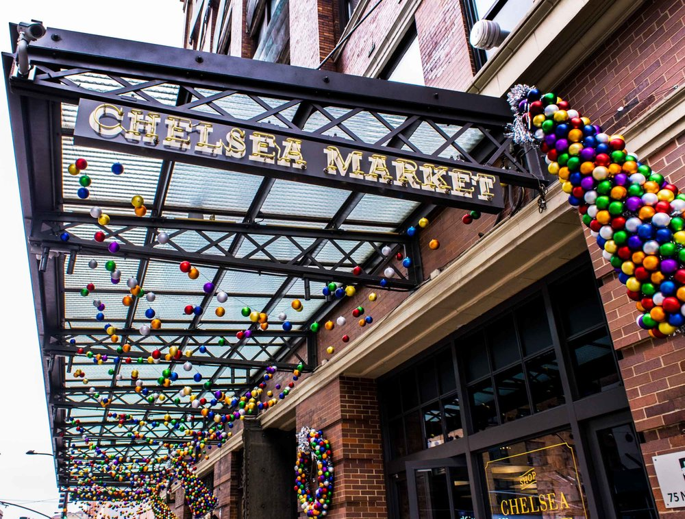 Entrance to Chelsea Market with Christmas decorations.