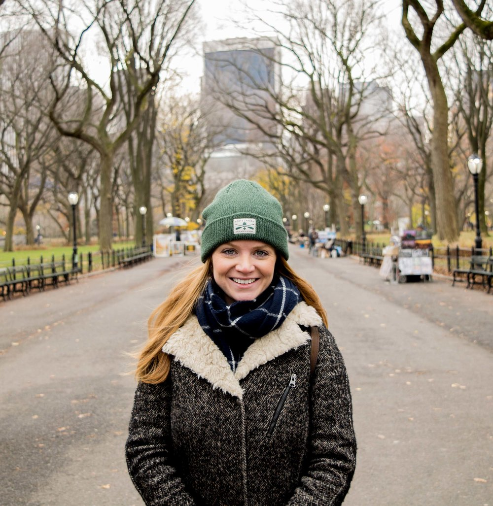 Portrait of a woman stood in the Mall in Central Park.