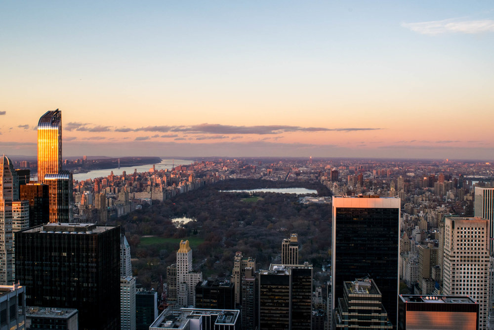 View over Central Park at sunset, taken from the Top of the Rock.