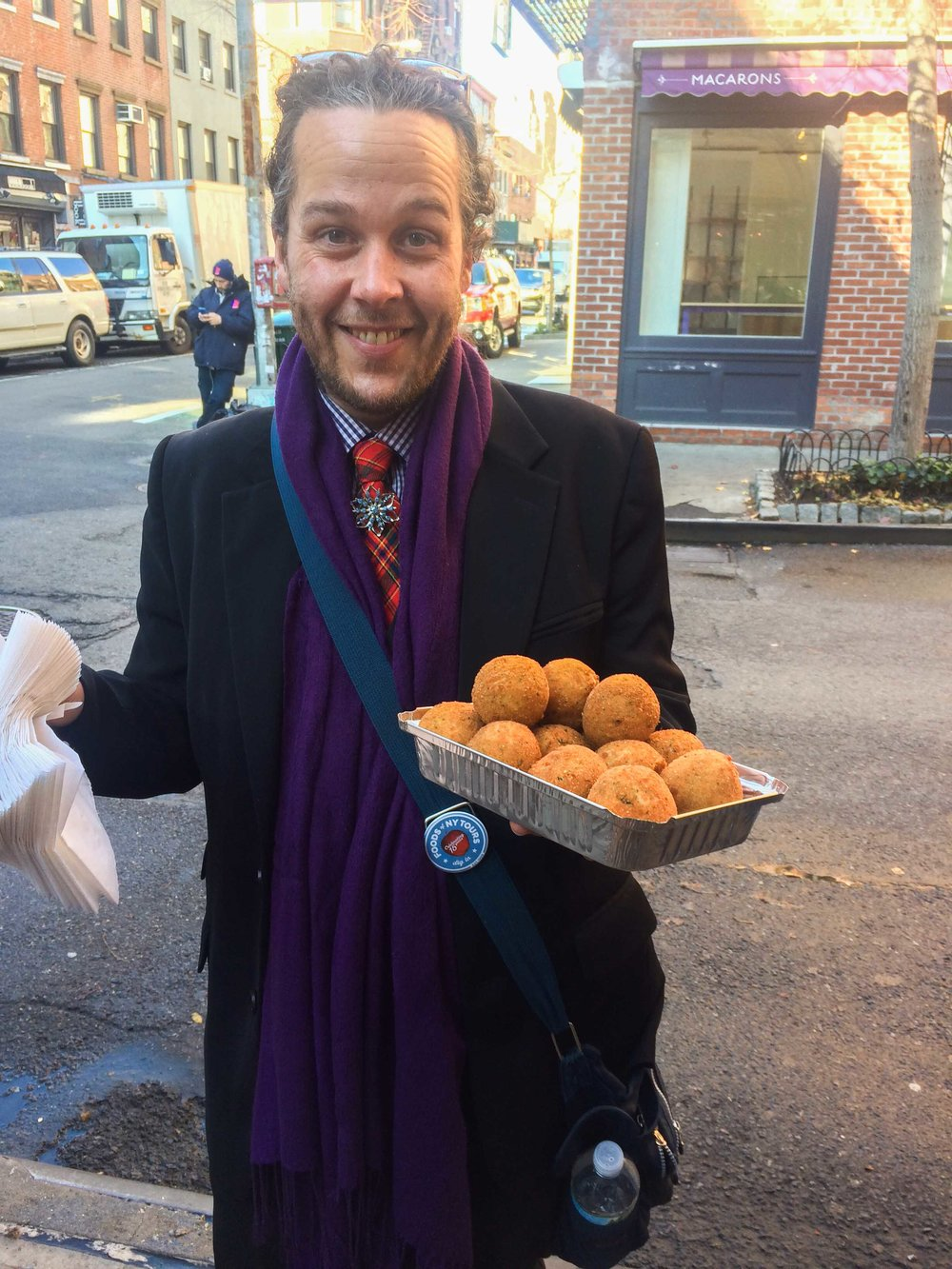 Foods of New York tour guide with arancini tastings on the Original Greenwich Village Food Tour.