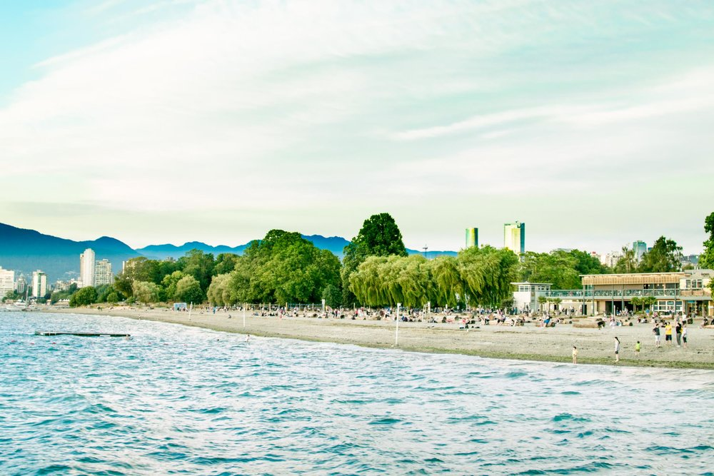 People on Kitsilano beach with the Vancouver skyline behind.