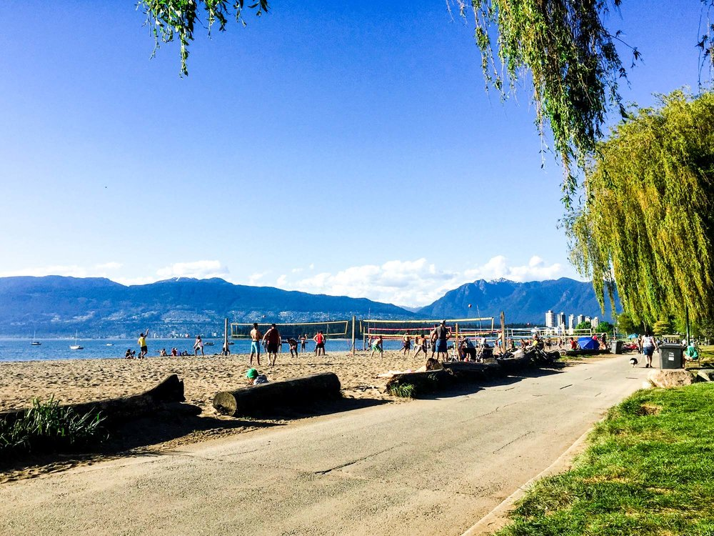 People playing beach volleyball on Kitsilano beach with the North Shore mountains behind and willow tree.