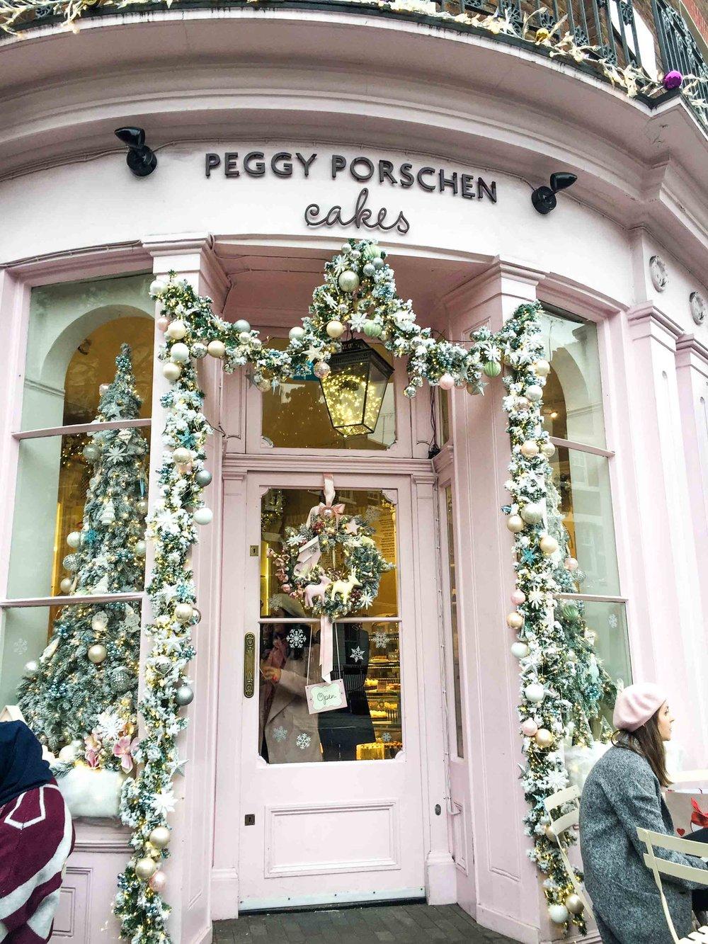 Pastel pink Peggy Porschen Cakes, bakery in London's Belgravia.