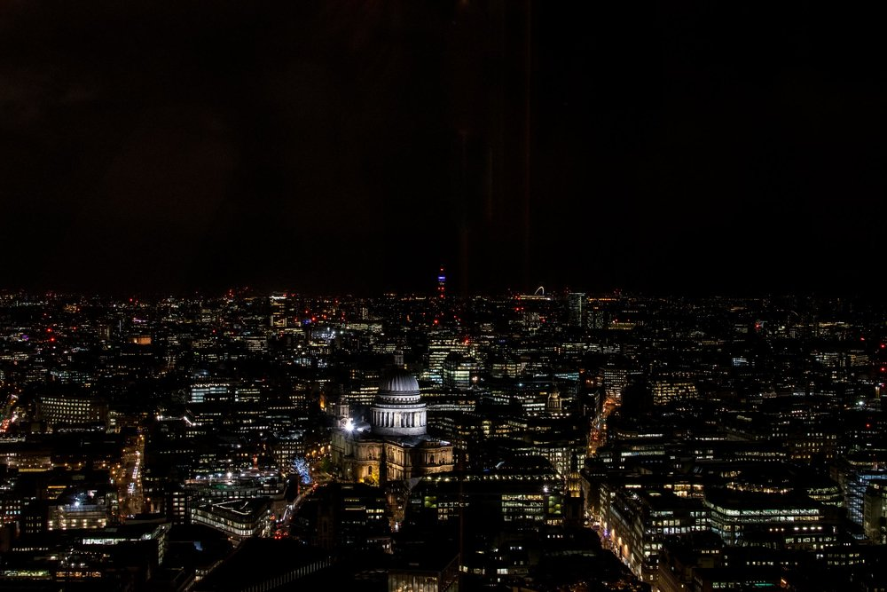 London skyline including St Paul's Cathedral, taken at night from the Sky Garden, 20 Fenchurch Street.