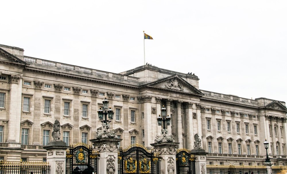 Buckingham Palace with the Royal Standard flag flying