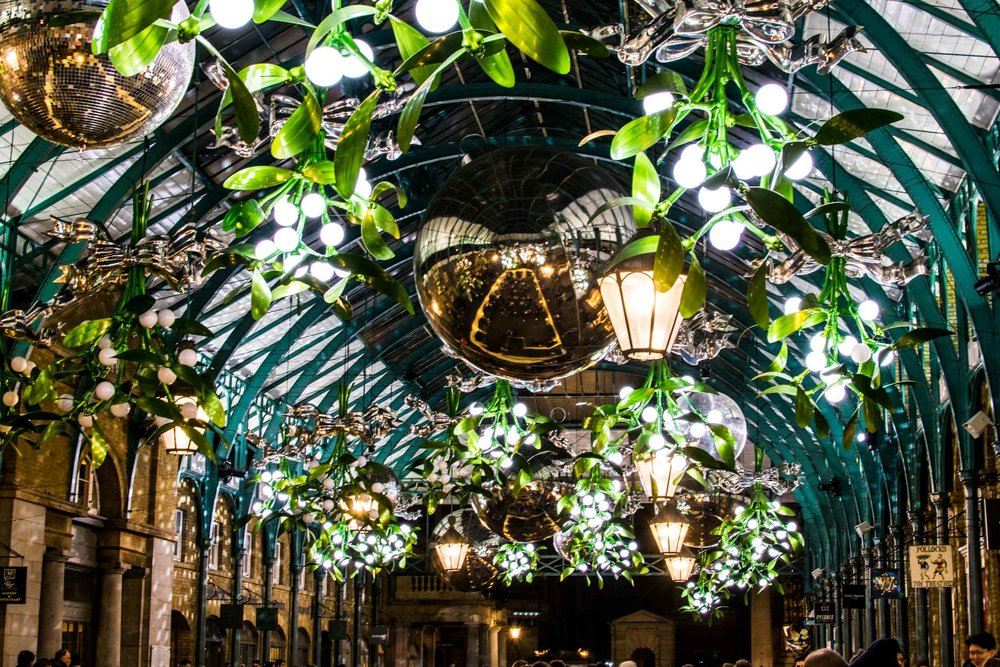 Covent Garden Christmas lights and decorations, London.