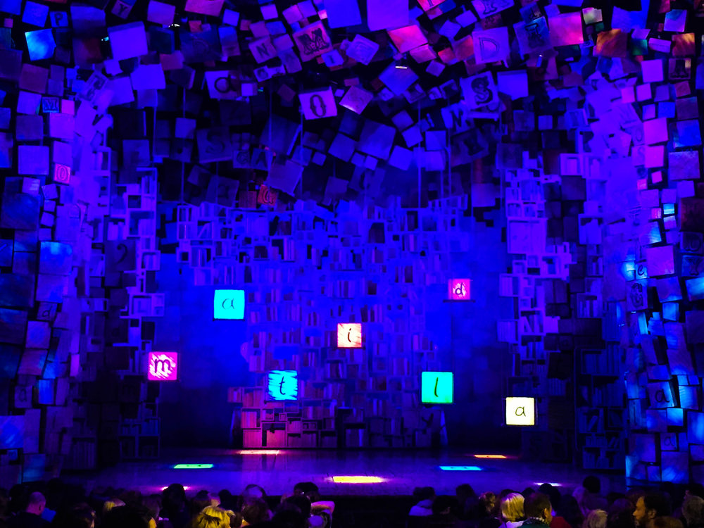 The stage at the Cambridge Theatre for Matilda the Musical