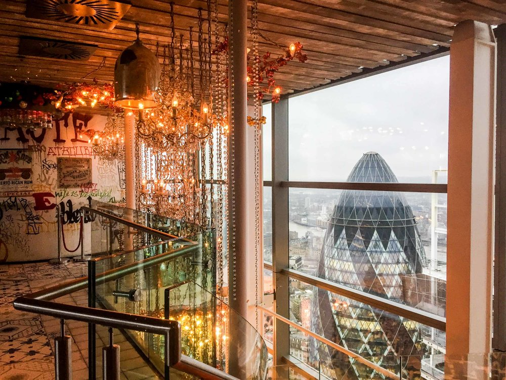 View of the Gherkin taken from within Duck & Waffle restaurant, 110 Bishopsgate, London.