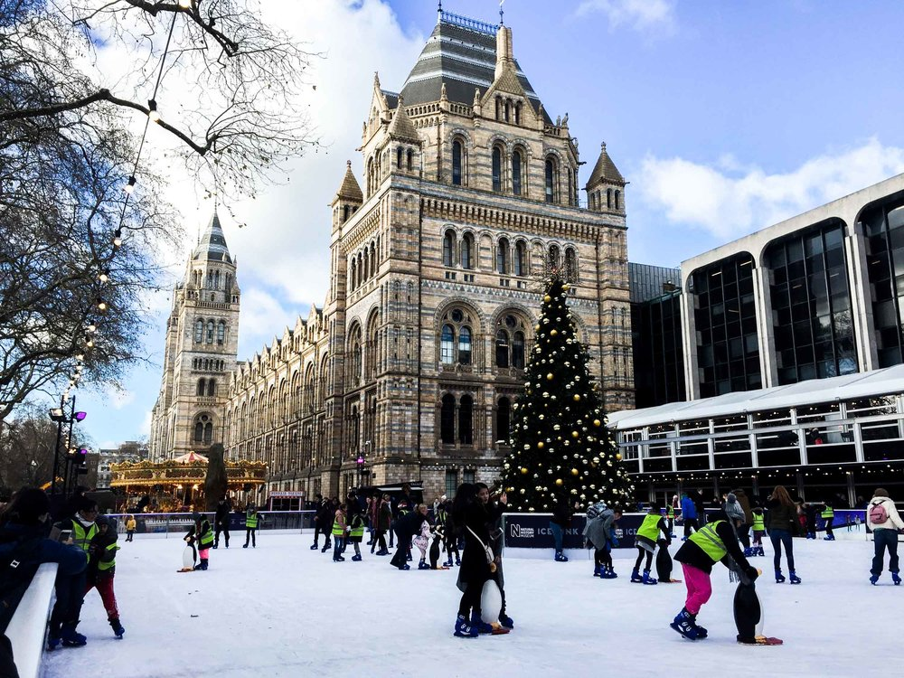 Ice skaters at the Natural History Museum, London.
