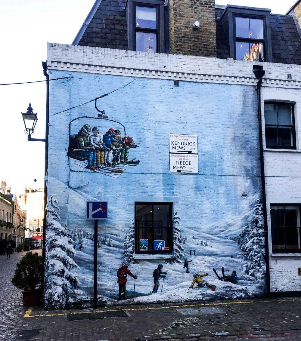South Kensington travel agency with skiing mural
