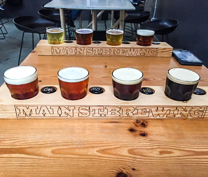 Flight of craft beers from Main St Brewing, one of Vancouver's many breweries.