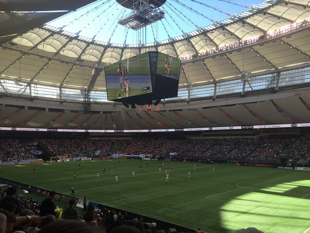 Vancouver Whitecaps playing soccer/football at BC Place Stadium, also home to the BC Lions.