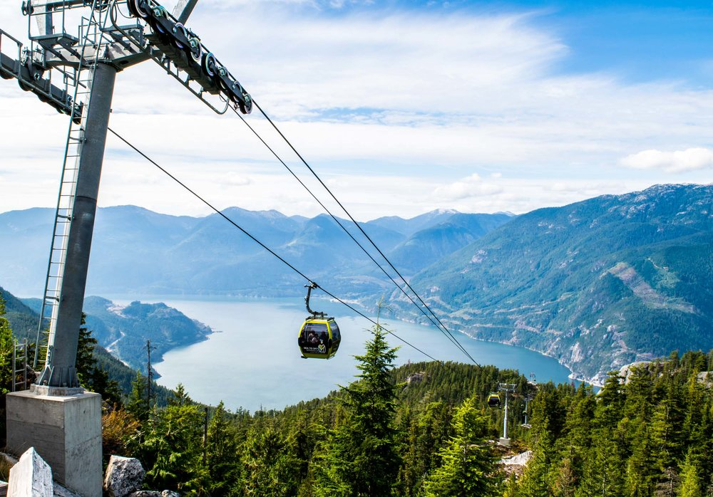 The Sea to Sky Gondola, Squamish with views over the Howe Sound. Just one hour north of Vancouver.