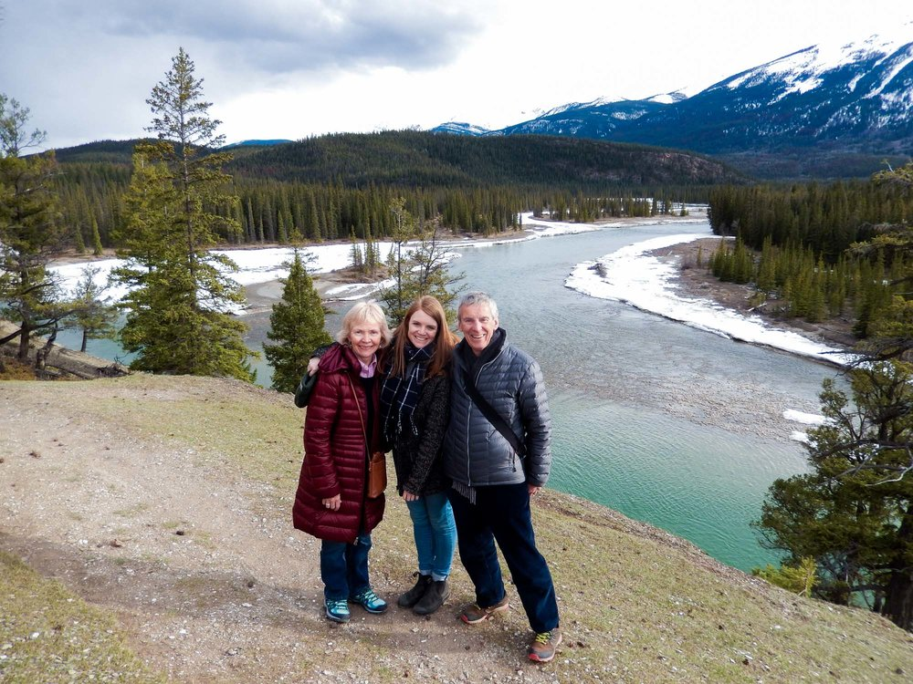 Me and my parents, stood at Old Fort Point in the Canadian Rockies. Jasper, Alberta.