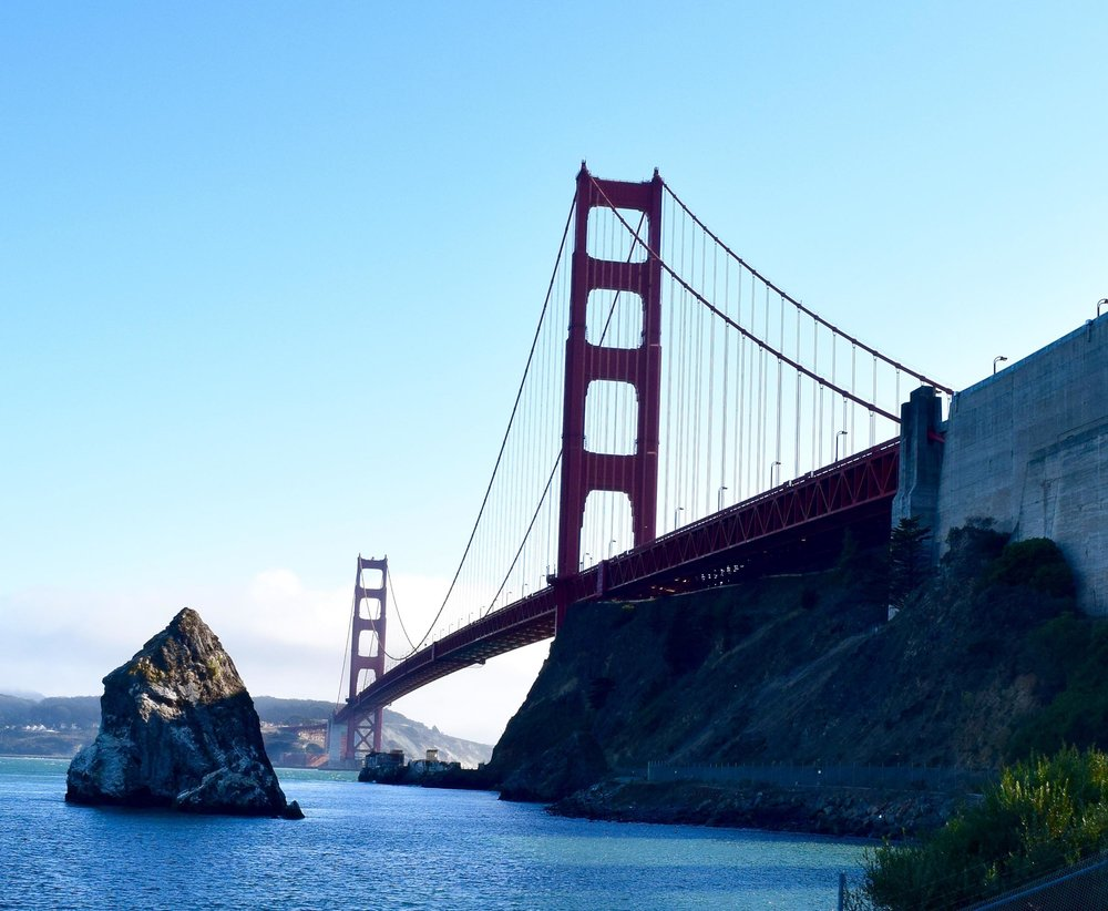 The Golden Gate Bridge captured from below as you cycle to Sausalito. San Francisco, California, USA.