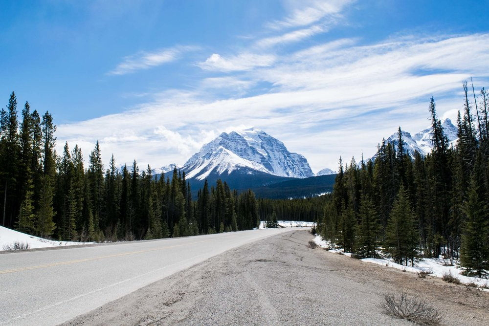 The Trans-Canada Highway; driving through the Rocky Mountains in Alberta, Canada.