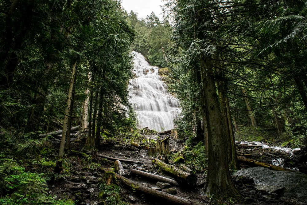 Bridal Veil Falls waterfall in Chilliwack, British Columbia, Canada.