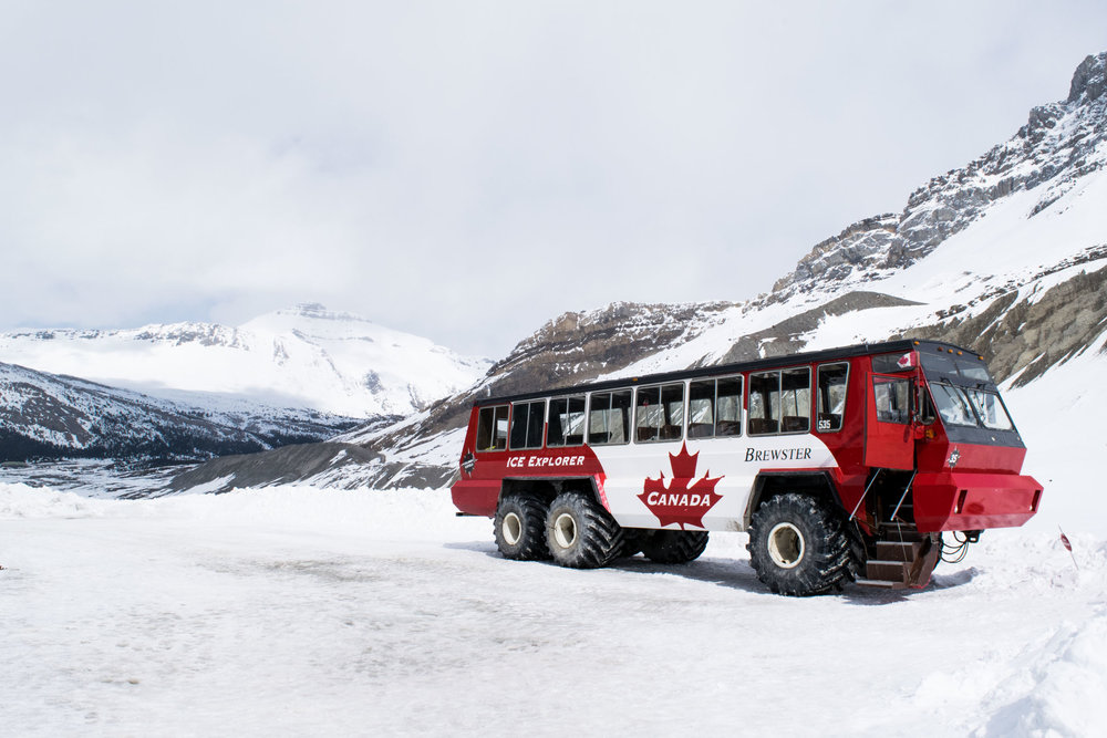 Brewster Ice Explorer at the Athabasca Glacier, Columbia Icefields. Alberta, Canada.