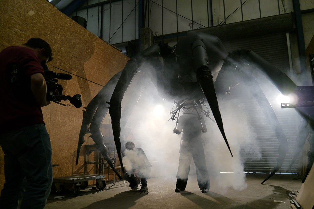 Arachnobot film shoot at the studio today for an upcoming interview and feature for Hornbach, Germany. Some really nice shots of the spider in the studio main space with a bit of smoke.