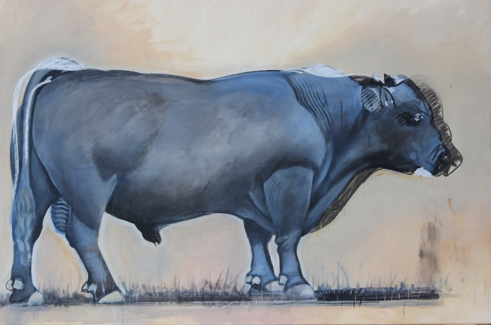 A Work in Progress: Rancho San Julian Bull. © Hank Pitcher 2015