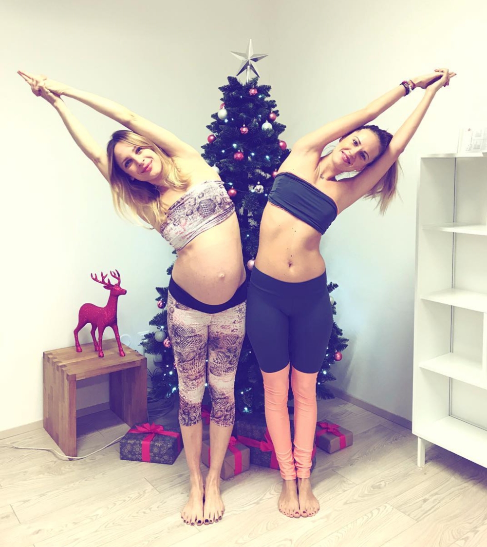 8 months pregnant at Hot yoga Liberec ;)
