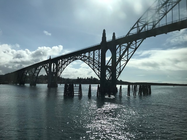 Heading under the Newport Bay Bridge to the open ocean.
