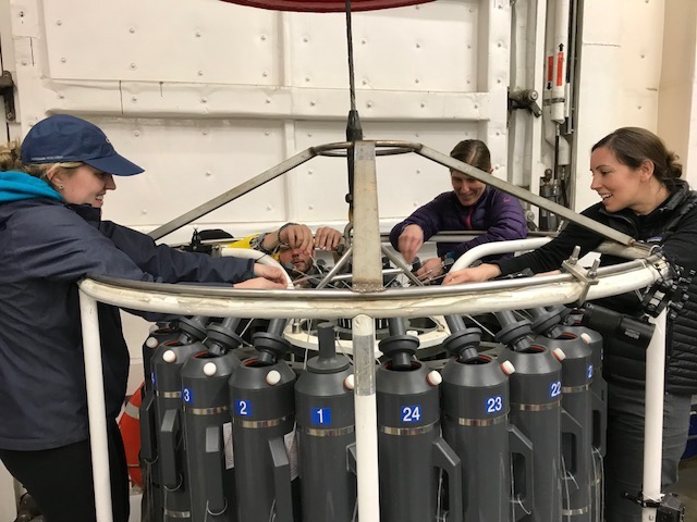 Team preparing to launch the seawater collection apparatus to sample water from same areas where zooplankton is collected to determine water attributes - salinity, temp. O2 and how that affects plankton.